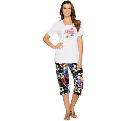 Quacker Factory Tropics Fun T-shirt and Printed Capri Pants Set