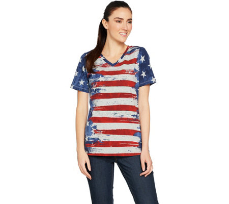 Denim & Co. American Flag Print Short Sleeve V-Neck Top