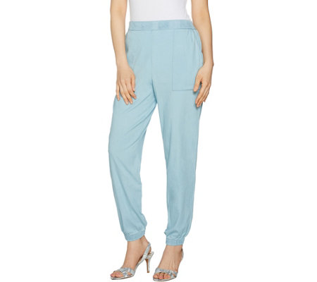 H by Halston Regular Stretch Chambray Jogger Pants