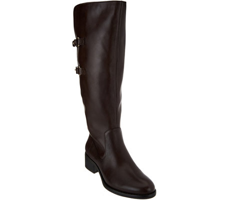 """As Is"" Isaac Mizrahi Live! Riding Boots with Straps - Wide Calf"