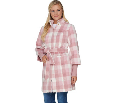 """As Is"" Isaac Mizrahi Live! Plaid Funnel Neck Coat with Storm Cuffs"