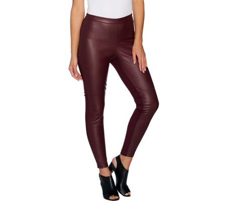 H by Halston Petite Faux Stretch Leather and Ponte Leggings