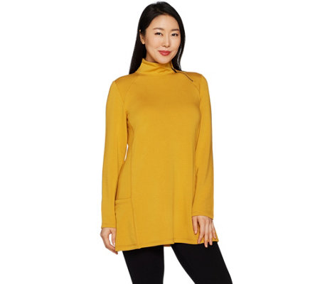 Susan Graver Weekend Brushed Back Knit Mock Neck Tunic