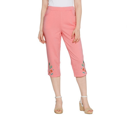 Quacker Factory Pull-on Floral Embroidered Knit Capri Pants