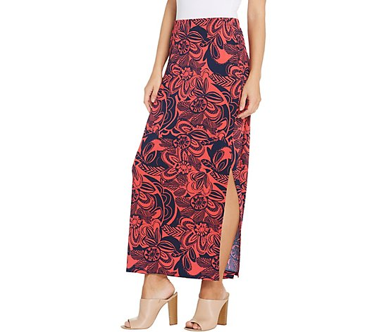 Susan Graver Regular Printed Liquid Knit Maxi Skirt