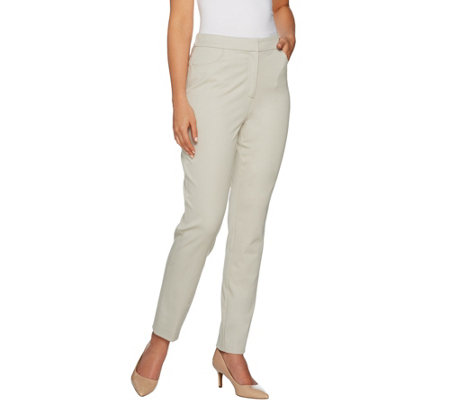 """As Is"" Susan Graver Coastal Stretch Fly Front Ankle Pants"