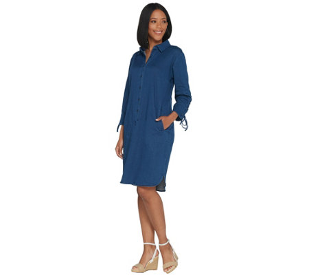 Linea by Louis Dell'Olio Regular Stretch Denim Dress w/ Lace Up Sleeve
