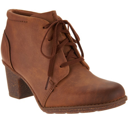 """As Is"" Clarks Leather Lace up Ankle Boots- Sashlin Sue"