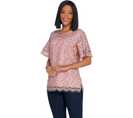 Isaac Mizrahi Live! Bi-Color Floral Lace Tiered Ruffle Sleeve Top