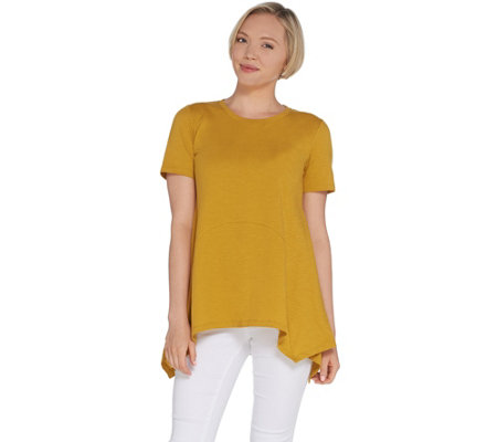 LOGO by Lori Goldstein Cotton Slub Knit Top with Seaming Details