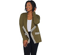 Denim & Co. Active French Terry Open Front Jacket w/ Stripe Rib Trim - A309447