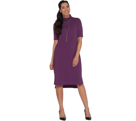 H By Halston Essentials Petite Turtleneck Midi Dress