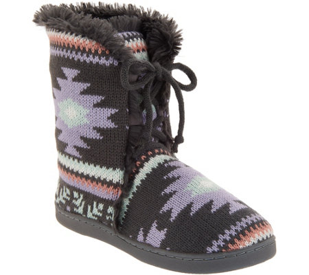 MUK LUKS Julie Lace-Up Slipper Boots with Faux Fur Lining