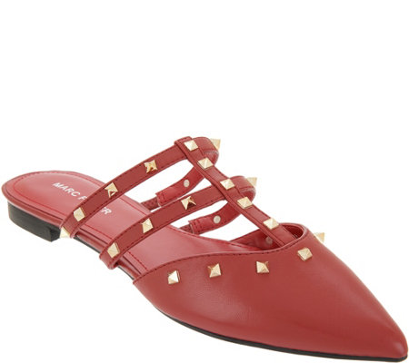 Marc Fisher Caged Leather Pointy Toe Studded Mules - Amazie
