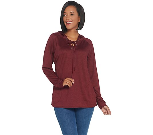 Belle by Kim Gravel Hacci Hooded Tie Front Sweatshirt