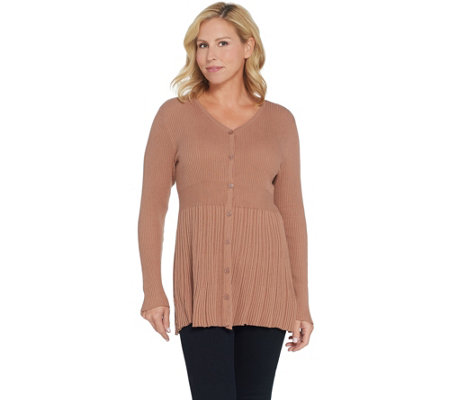 Joan Rivers Button Front Cardigan with Pleats