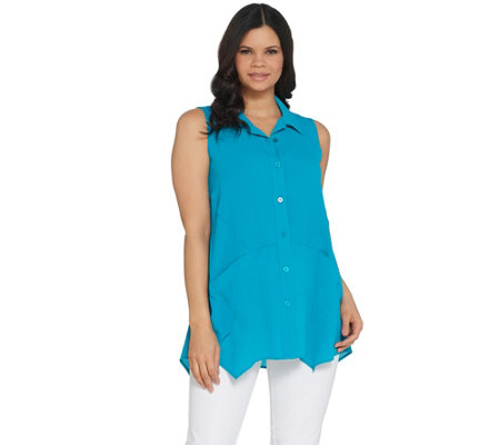 """As Is"" Joan Rivers Sleeveless Crepe Button Front Shirt"