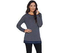 Susan Graver Cotton Rayon Jacquard Tunic Sweater with Lace Trim - A344847
