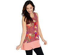 LOGO Layers by Lori Goldstein Printed Tank w/ Solid Flounce at Hemline - A345547