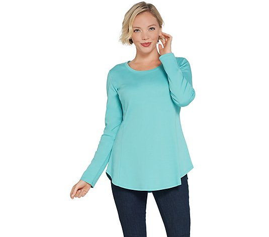 Isaac Mizrahi Live! Essentials Pima Cotton Seamed Knit Top