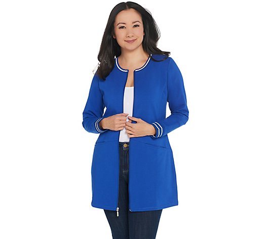 Denim & Co. Active Regular Tunic Jacket with Striped Rib Trim