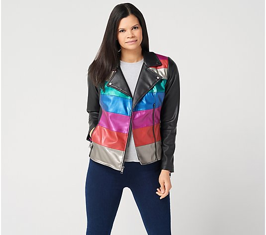 G.I.L.I. Novelty Faux Leather Striped Jacket