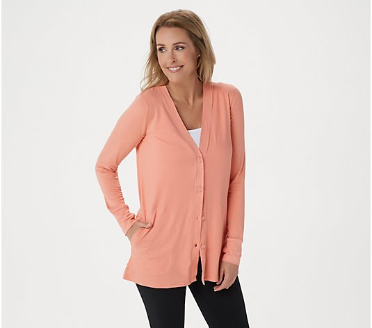 Cuddl Duds Flexwear Button Front Cardigan