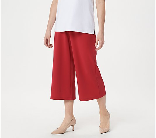 Joan Rivers Petite Pull-On Textured Crepe Gauchos