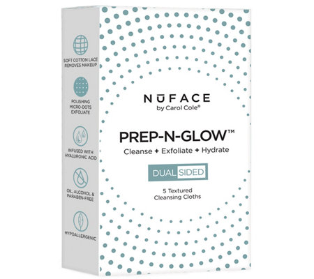 NuFACE PREP-N-GLOW Cleanse Exfoliation Cloths,5-Count