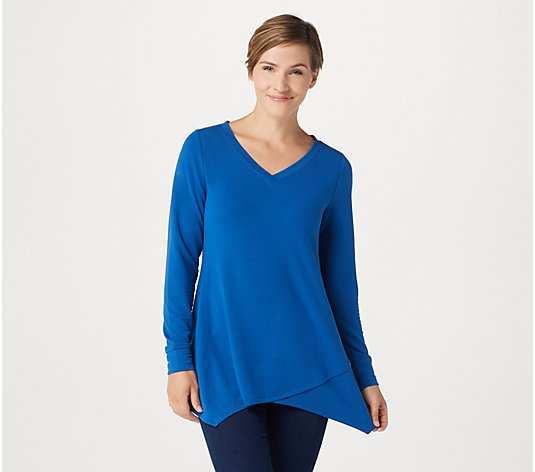 H by Halston French Terry Long-Sleeve V-Neck Top with Asymmetric Hem