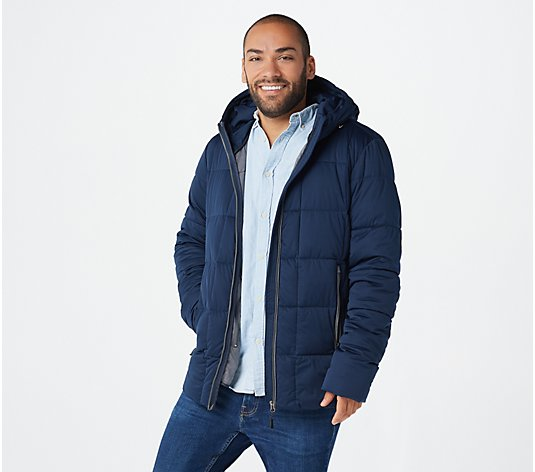 Nuage Men's Stretch Quilted Coat with Hood