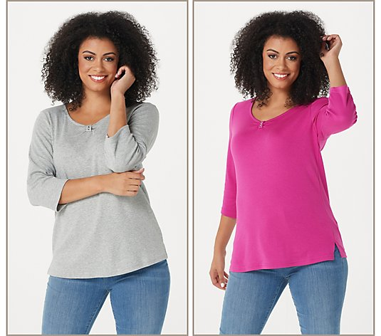 Quacker Factory Set of 2 Ruched 3/4 Sleeve Knit Top