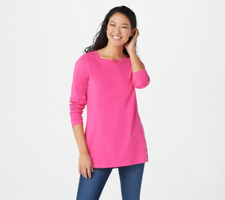 """As Is"" Denim & Co. Jersey Boatneck Long- Sleeve Tunic"