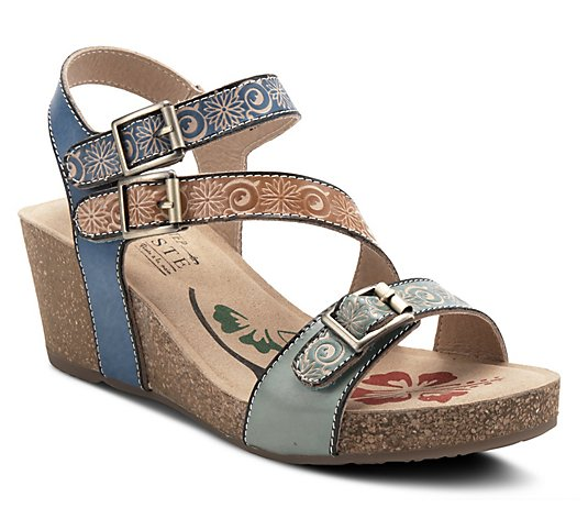 L'Artiste By Spring Step Leather Wedge Sandals- Tanja