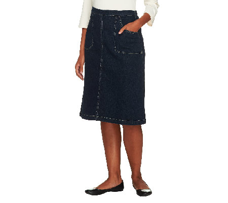 Denim & Co. Classic Waist Colored Denim A-line Skirt w/ Back Elastic
