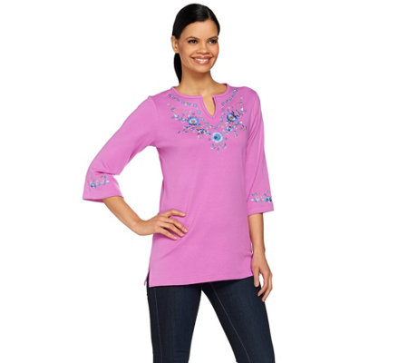 Quacker Factory Split Neck Denim Floral Knit Tunic