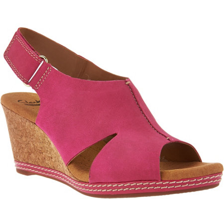 Clarks Nubuck Wedge Sandals with Backstrap - Helio Float