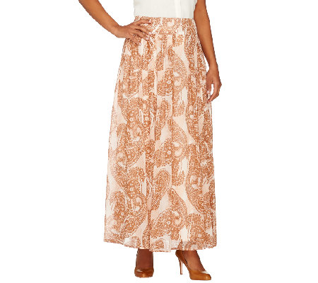 Dennis Basso Regular Paisley Printed Pleated Maxi Skirt