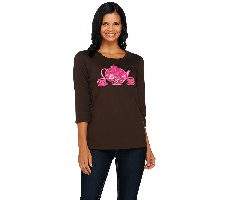 Quacker Factory Be Jeweled Novelty 3/4 Sleeve T-shirt