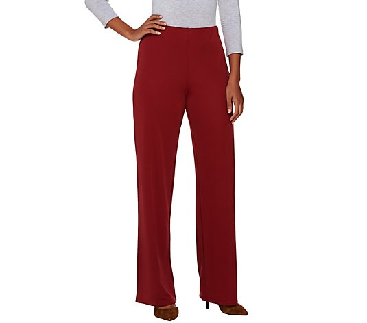 H by Halston Regular Jersey Knit Wide Leg Pants