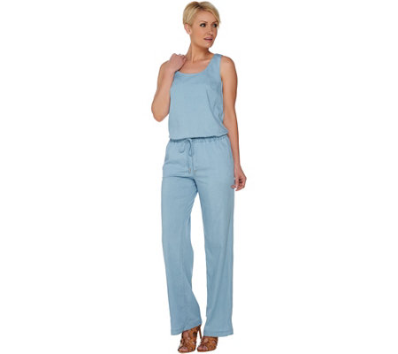 H by Halston Stretch Chambray Sleeveless Jumpsuit