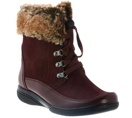 """As Is"" Clarks Leather Water Resistant Ankle Boots with Faux Fur"