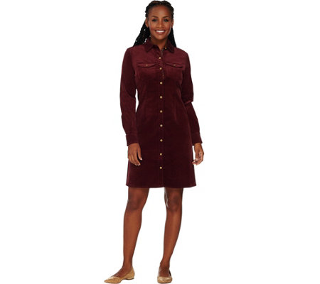 C. Wonder Button Front Corduroy Shirt Dress with Printed Placket