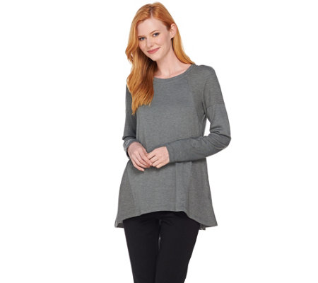 LOGO Lounge by Lori Goldstein French Terry Top with Waffle Knit Panels