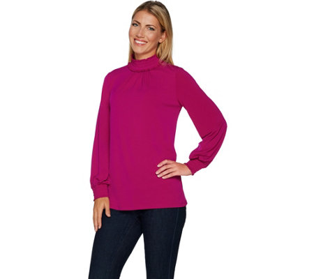 Every Day by Susan Graver Liquid Knit Long Sleeve Mock Neck Top