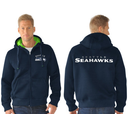 the best attitude 6f61c 95fb7 NFL Team Color Poly Knit with Sherpa Lining Zip Up Hoodie — QVC.com