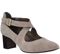 Rockport Total Motion Suede Pumps w/ Strap Detail - Salima Cross - A296648