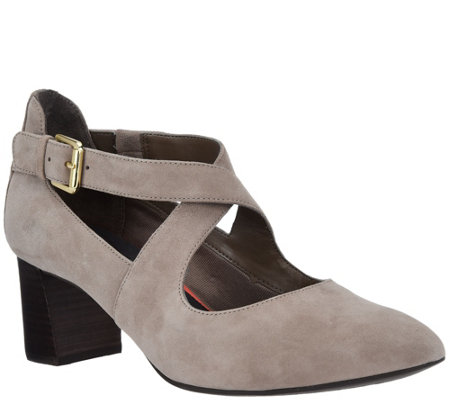Rockport Total Motion Suede Pumps w/ Strap Detail - Salima Cross