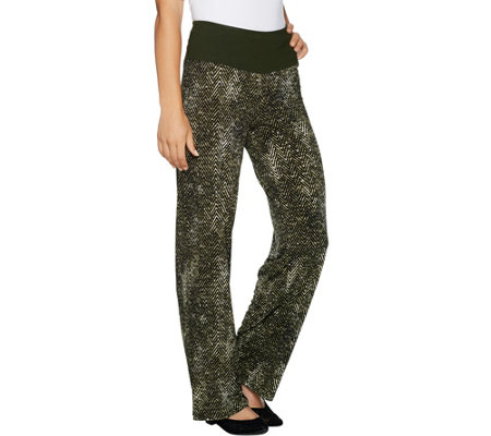 Women with Control Petite Tummy Control Pull-On Printed Pants w/ Glitz