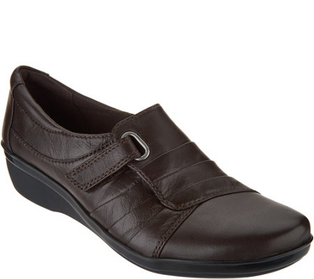 """As Is"" Clarks Leather Monk Strap Slip-on Shoes- Everylay Luna"